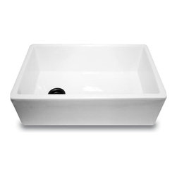 Nantucket Sinks - Nantucket Sinks FCFS30 Fireclay Sink - A very ergonomically designed basin with the drain offset. By offsetting the drain most of the under sink plumbing will be located to the side of choice. The location of these pipes being offset will allow space under the sink for recycling bins and waste basket maximizing your under sink space. Normally this space is reduced by plumbing being centrally located. A sink is constructed from 100% Fireclay and is glazed in white.