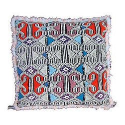 X-Pattern Moroccan Sham - A lovely handwoven pillow sham with an elaborate diamond and X pattern from the Zemmour tribe in the Middle Atlas mountains of Morocco. Zipper closure. Price is for the sham only, insert is not included.
