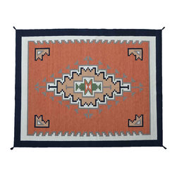 9'X12' Navajo Design Rug, 100% Wool Hand Woven Rust Red Flat Weave Rug SH11202 - Soumaks & Kilims are prominent Flat Woven Rugs.  Flat Woven Rugs are made by weaving wool onto a foundation of cotton warps on the loom.  The unique trait about these thin rugs is that they're reversible.  Pillows and Blankets can be made from Soumas & Kilims.