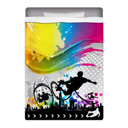 """Eco Friendly """"Skate City"""" Skateboard Bedding Twin Sheet Set - Our """"Skate City"""" Twin Size Skateboard Sheet Set is made of a lightweight microfiber for the ultimate experience in softness~ extremely breathable!"""