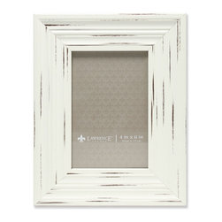 Lawrence Frames - 4x6 Weathered Ivory Richmond Picture Frame - Gorgeous wide weathered Ivory composite picture frame.  Beautiful casual textured finish that will be a great decorative addition to any room.  Comes with a two way easel for vertical or horizontal table top display, and hangers for vertical or horizontal wall mounting.  High quality black velvet backing.  Picture frame comes with glass to protect your photo, and is individually boxed.