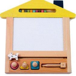 gg* - Oekaki House Magic Board Purple, Yellow/Dog - This beautiful magic board allows you to draw with the magnet pen, erase and draw again endless times onto a 4 coloured background. Pull the little cat along to erase and use the circle, square or triangle shaped magnets to enhance your drawing skills.
