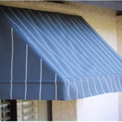Awnings In a Box Classic Awning - 8 ft. - Clean lines and subtle adornment never fall from fashion, and the Awnings In a Box Classic Awning - 8 ft. offers your home that timeless beauty and instant curb appeal. At eight feet wide, this awning is large enough to be a major focal point over large picture windows or above patio doors, creating a charismatically textured facade. At the same time, its simple, straight valance provides an unassuming charm that enhances the look of the whole house, instead of adding garish embellishment. Functional as well as decorative, it has a steep pitch that doesn't allow rain pockets or mounded snow that could dump on you unexpectedly. And the shade it provides in the summertime helps you keep your home or office cool, cutting down on energy costs, and prevents both glare on your window as well as fading in your draperies, carpets, and furniture.Awnings in a Box are built with the utmost care and consideration for keeping the face of your home or office looking nice. The 100-percent aluminum frame and commercial-grade hardware are guaranteed not to rust. And being mildew resistant as well as poly-urethane coated with Teflon, the Sunsational Select fabric is one of the most durable solution-dyed fabrics on the market today for outdoor use and comes in a wide variety of colors that are sure to complement your exterior. These awnings can be installed easily into stucco, wood, or brick. And because they are light, retractable, and removable, these awnings can be easily cleaned and kept looking new in the event of adverse weather such as high-wind storms.About Sunsational ProductsAs the home products division of IDM Worldwide, Sunsational Products are pioneers in the first easy-to-install, Do-It-Yourself, Awnings in a Box. This product has proven to be one of the most highly demanded products in IDM's home product line and is offered only to leading vendors. Awnings in a Box represents a solution to one of the most under developed areas of DIY home improvement. The concept was such a success, IDM Worldwide moved forward in offering a Do-It-Yourself Door Canopy in a Box product for residential and commercial use.