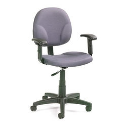 BOSS Chair - Gray Fabric Task Chair w Contoured Back, Adju - Meet your match with smartly designed Diamond task chair that combines casual styling and ergonomic design. Grey fabric upholstery works well with neutral office décor. Wide seat, arm rests and contoured back ensure utmost comfort as you work. This simple, functional chair is durable enough for kids' rooms, college dorms and offices too. Contoured back and seat provides support and helps relieve back strain. Extra large seat and back cushions. Pneumatic gas lift seat height adjustment. Adjustable arms 4 standard fabric colors. Cushion color: Grey. Base/wood: Black. Seat size: 19.5 in. W x 18 in. D. Seat height: 17 in. -22 in. H. Arm height: 24 in. -32 in. H. Overall dimension: 25 in. W x 25 in. D x 32-40 in. H. Weight capacity: 250 lbs