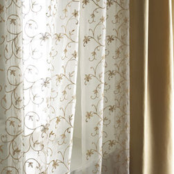 """Horchow - Each 54""""W x 96""""L Vienna Sheer - Adorned with floral embroidery in your choice of colors, these airy sheers go beautifully with so many curtain styles! Made of polyester with 3"""" rod pockets. Choose embroidery color below. Imported. Dry clean. For guidelines on how to measure for curt..."""