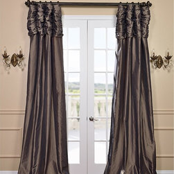 EFF - Mushroom Ruched Header Faux Silk Taffeta Curtain Panel - This ruched header drape represents extravagant luxury that adds a new dimension in any decor. This window panel is tailored from the finest shimmering faux silk taffeta in gorgeous tones to add a ballroom elegance to any window in your home.