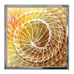 Logicsun/Riviera - Art-Work Earth - Only an Italian master glass worker could create this stunning wall lamp! Framed in polished steel this golden yellow spiral of glass is ready to shine. Made in Italy, this wall light invites an earth theme to your favorite modern setting.