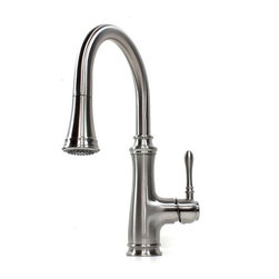 "Allora - Allora Chess Design Lead Free Faucet with Pull Out Sprayer - This Chess design faucet combines beauty and functionality which will be an easy upgrade to your kitchen. Single Hole Installation. Swivel Spout with pull out sprayer. User friendly single level control. Dimensions 15-1/2"" x 8""."
