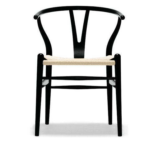 Carl Hansen & Son - Wegner Wishbone Black Lacquered Oak / Natural Seat, by Carl Hansen - Danish modern master Hans J. Wegner created this sleek yet sensuous, wishbone-inspired lacquered chair. It's made of oak with a paper-cord woven seat to lend incomparable style and comfort to your dining room.