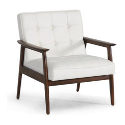 Stratham White Midcentury Modern Club Chair - A classic vintage-modern chair in crisp white is a winner.