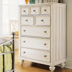 American Drew - American Drew Camden-Light Drawer Chest in White Painted - The Camden-Light Collection melds simple forms with quiet traditional references  gentle curves and a beautiful time worn ivory finish that lets the character of the wood show through. The brushed nickel finish hardware adds even more character to the Camden collection. This line will work great in your renovated farm house or a smaller beach cottage get-away.
