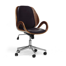 Wholesale Interiors - Watson Walnut and Black Modern Office Chair - This chair means business. Our Watson Modern Office Chair gets the job done in style: walnut plywood paired with black faux leather help to create a stylish workspace. A chrome-plated steel base includes 360 degree swivel and height adjustment features as well as black plastic caster wheels. Made in China, the Watson Office Chair requires assembly and should be wiped clean with a damp cloth.
