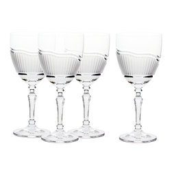 Martinka Crystalware & Lifestyle - Morning Frost, Red Wine Glasses (Set of 4) - The Morning Frost wine glasses mimic the appearance of cool morning frost blanketing fresh blades of grass. Each wine glass exhibits a distinct design marked with handcrafted blade-shaped ridges frosted over with matte crystal. A polished double groove ebbs and flows along the wine glass guiding the blades into natural shapes of subtle hills and valleys.