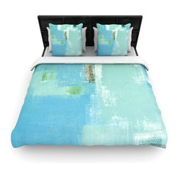 "Kess InHouse - CarolLynn Tice ""Announced"" Aqua Green Cotton Duvet Cover (King, 104"" x 88"") - Rest in comfort among this artistically inclined cotton blend duvet cover. This duvet cover is as light as a feather! You will be sure to be the envy of all of your guests with this aesthetically pleasing duvet. We highly recommend washing this as many times as you like as this material will not fade or lose comfort. Cotton blended, this duvet cover is not only beautiful and artistic but can be used year round with a duvet insert! Add our cotton shams to make your bed complete and looking stylish and artistic!"