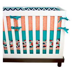 """Modified Tot - Baby Bedding Crib Set, Peachy Keen - Great shades of peach, turquoise, navy and coral keep this gender neutral crib set feeling modern. The three piece set includes bumpers with hand-stitched fabric ties and contrasting piping, a fitted sheet with elastic all the way around and a four-sided skirt with a 15"""" drop. Bumpers are created in six separate pieces for easy transition to a toddler bed, they measure 1"""" thick and 10"""" high. All items are proudly made in the USA. All products are made to order."""