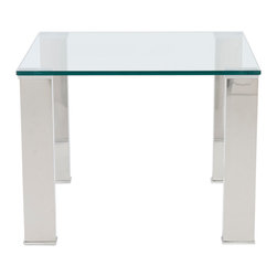 Euro Style - Beth Side Table - How can something so simple make such a wonderful statement? Ask Beth! Tempered glass and polished stainless steel together in a wide variety of shapes and sizes. Never distracting. Always pleasing.