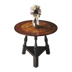 Butler Specialty - Butler Foyer Table - This stunning tabletop features swirling inlays in a field of burl veneer framed by a wide, cross-grain border of cherry and walnut veneers. The base also impresses with its sloping turned legs and triangular stretcher in the Black and Tan finish. Crafted from Poplar wood solids and veneers.
