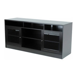 """Jesper Office - 63"""" TV Stand - Features: -Laminate wood material.-Pre mounted levelers.-Ventilation.-Glass doors.-Wire management.-Adjustable shelves.-Distressed: No.-Powder Coated Finish: No.-Gloss Finish: No.-Material: Manufactured Wood.-Solid Wood Construction: No.-Exterior Shelves: Yes -Number of Exterior Shelves: 3..-Drawers: No.-Cabinets: Yes -Number of Cabinets: 2.-Number of Doors: 2.-Door Attachment Detail: Hinges.-Interchangeable Panels: No.-Cabinet Handle Design: Knobs.-Number of Interior Shelves: 2.-Adjustable Interior Shelves: Yes..-Scratch Resistant : Yes.-Casters: No.-Accommodates Fireplace: No.-Fireplace Included: No.-Media Player Storage: Yes.-Media Storage: No.-Remote Control Included: No.-Batteries Required: No.-Swatch Available: No.-Lift Mechanism: No.-Expandable: No.-TV Swivel Base: No.-Integrated Flat Screen Mount: No.Dimensions: -Overall Product Weight: 156.-Overall Height - Top to Bottom: 29.-Overall Width - Side to Side: 63.-Overall Depth - Front to Back: 20.-Shelving: Yes.-Cabinet: Yes.-Legs: Yes.Assembly: -Assembly Required: Yes.Warranty: -Manufacturer provides 5 years warranty.-Product Warranty: 5 Years."""
