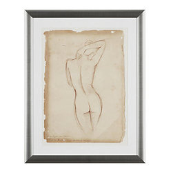 "Antique Figure Study 1 - Print framed in a warm champagne frame with white matboard. Dimensions: 28.5"" x 22.5"""