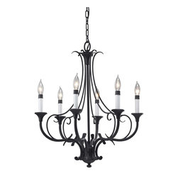 Murray Feiss - 6 Peyton 6 Light Wrought Iron 1 Tier Chandelier - The Peyton lighting collection is an unexpected contrast between the dramatic Black finish and the soft, romantic curves.  The design flourishes and decorative details lend to the overall aesthetic of the dramatic light fixtures in the collection.