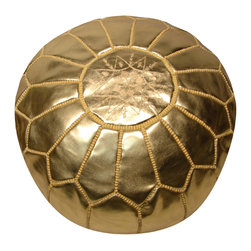 RR - Moroccan Pouf - Gold Leather - Moroccan Pouf - Gold Leather