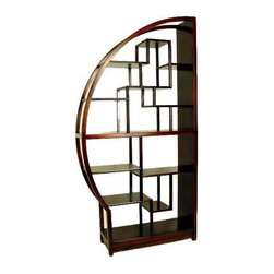Wayborn - Half Moon Etagere in Brown Birchwood - Made from Birchwood. Smooth finish. 40 in. W x 12 in. D x 78 in. H (65 lbs.)Asian inspired display unit is perfect for dinning room, living rooms or den. This half circle can be viewed both from front and back so putting two together will really bring something extra to any decor. Can be used to display pictures, unique valuables or collectables items.
