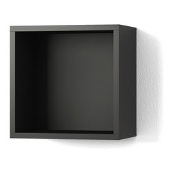 Contemporary Wooden Shelf - 15x15, Black - The cube shelf is a no-fuss foundation that supports both the quest for intellectual expansion and the need to shelve the finds stylishly.