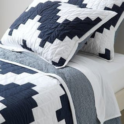 Garnet Hill - Garnet Hill Chevron Quilt - Double/Queen - Blue/White - A cotton quilt with zigzagging pieced chevron stripes will have your bedroom looking shipshape in seconds flat. Quilted by hand, quilt is backed with a petite triangular print. White binding. Coordinating sham has quilted front. Cotton with lightweight cotton flannel fill.