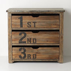 Ordinal Dresser - Maybe you'll use it to prioritize what's in your drawers, or maybe you just love it because of the numeric graphics. this wooden dresser has a distressed metal top.