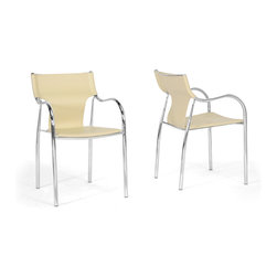 """Wholesale Interiors - Harris Ivory Modern Dining Chairs, Set of 2 - This clever, contemporary dining chair gives off sparks around any dining table, resulting in beautiful, modern dining room decor. The chair is made with a durable steel frame featuring a high-shine chrome finish and black non-marking feet. The seat itself is constructed with thick faux bonded leather in ivory with white-stitched edges. The Harris Dining Chair is made in China, is fully assembled, and is a stackable dining chair. To clean, wipe with a damp cloth. This style is also available in black or brown (each sold separately). Chair Dimension: 20.25""""W x 20.5""""D x 31.5""""H. Seat Dimension: 18""""W x 17""""D x 18""""H with 25.5"""" arm height."""