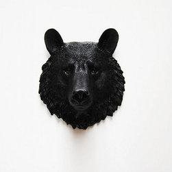 The Tippens, Black Mini Resin Bear Head by White Faux Taxidermy - Isn't this guy handsome? He makes a great accent for an art wall or a small area that needs a little life.