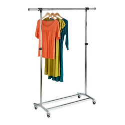 Chrome Garment Rack - Honey-Can-Do GAR-01123 Chrome Commercial Garment Rack, Chrome / Black.  The perfect solution for those that need extra hanging storage space, this attractive and functional garment rack is a nice addition to any laundry room, bedroom, or foyer. Sitting on commercial quality casters, the rack rolls smoothly from room to room. Features an adjustable hanging bar that raises to accommodate long dresses or coats and extends in width for extra hanging space. Withstands a maximum hanging weight of 80lbs.