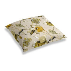 Yellow, Green & Flax Painted Floral Custom Floor Pillow - A couch overflowing with friends is a great problem to have.  But don't just sit there: grab a Simple Floor Pillow.  Pile em up for maximum snugging or set around the coffee table for a casual dinner party. We love it in this yellow and green painterly floral on thick natural cotton ground makes for a modern yet rustic focal point for any room.