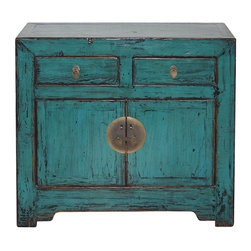 Blue Chinese Chest - Infuse vibrant blue color into your room with this chinese two drawer side chest. With simple straight lines and hand rubbed edges. Would be beautiful next to a big arm chair or sofa.