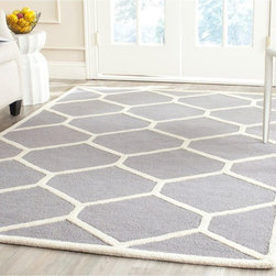 Safavieh - Safavieh Handmade Moroccan Cambridge Trellis-pattern Silver/ Ivory Wool Rug (6' - Safavieh's Cambridge collection is inspired by timeless contemporary designs crafted with the softest wool available.