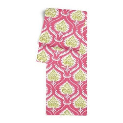 Pink Artichoke Custom Table Runner - Get ready to dine in style with your new Simple Table Runner. With clean rolled edges and hundreds of fabrics to choose from, it's the perfect centerpiece to the well set table. We love it in this preppy modern print of pink and green artichokes and damask-like scrolls.