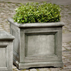 Campania International - Campania International Large Orleans Cast Stone Planter - P-603-AL - Shop for Planters and Pottery from Hayneedle.com! About Campania InternationalEstablished in 1984 Campania International's reputation has been built on quality original products and service. Originally selling terra cotta planters Campania soon began to research and develop the design and manufacture of cast stone garden planters and ornaments. Campania is also an importer and wholesaler of garden products including polyethylene terra cotta glazed pottery cast iron and fiberglass planters as well as classic garden structures fountains and cast resin statuary.Campania Cast Stone: The ProcessThe creation of Campania's cast stone pieces begins and ends by hand. From the creation of an original design making of a mold pouring the cast stone application of the patina to the final packing of an order the process is both technical and artistic. As many as 30 pairs of hands are involved in the creation of each Campania piece in a labor intensive 15 step process.The process begins either with the creation of an original copyrighted design by Campania's artisans or an antique original. Antique originals will often require some restoration work which is also done in-house by expert craftsmen. Campania's mold making department will then begin a multi-step process to create a production mold which will properly replicate the detail and texture of the original piece. Depending on its size and complexity a mold can take as long as three months to complete. Campania creates in excess of 700 molds per year.After a mold is completed it is moved to the production area where a team individually hand pours the liquid cast stone mixture into the mold and employs special techniques to remove air bubbles. Campania carefully monitors the PSI of every piece. PSI (pounds per square inch) measures the strength of every piece to ensure durability. The PSI of Campania pieces is currently engineered at a