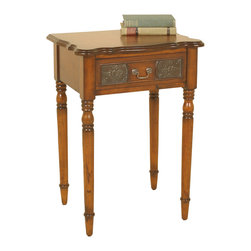 Welcome Home Accents - Walnut Side Table - Walnut finish side table with working drawer. Retro tin panels adorn this table. Ships KD. Wipe with a dry cloth. Made in China.