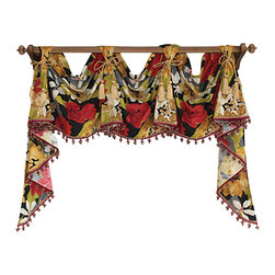 RLF Home - Garden Delight Victory Swag, Red, 5 Scoop - Enliven your décor with this Garden Delight Victory Swag featuring richly-colored flowers embellished with lavish tassel-trim. Fashioned with front-tabs and chair-tie accents as shown, this style is truly elegant when displayed on a decorative pole. This valance is 100% Cotton, unlined, and available in color Red.