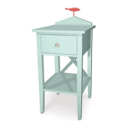 Bar Harbor Side Table - This cutie nightstand has a storage for the pretty books you leave out and the stuff you want to stash away, plus it has a fun little fish detail on top. You can choose from a zillion color combinations, but I must say I am liking this light aqua with the salmon fish!