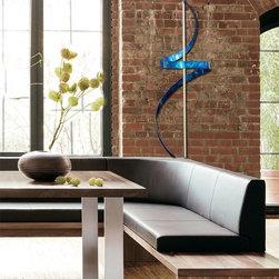"Blue Metal Abstract Indoor Sculpture - Blue Ribbon Dancer by Jon Allen - Blue Ribbon Dancer Contemporary Metal Art Sculpture -  As seen on the ABC hit TV show ""Nashville""!"