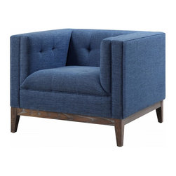 TOV Furniture - Gavin Chair | Blue Linen - Blue linen upholstery is accented with button tufting, creating a modern classic appeal. The from is made of kiln dried solid wood with antique brown ash wood legs, and dense foam and cushion.