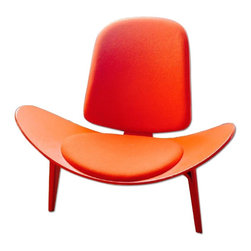 Hans Wegner Shell Chair (Original) - This red chair is an original shell chair designed by Hans Wegner, one of the forefathers of Danish modern design, and reintroduced to the market by Carl Hansen & Son. This mid century modern classic Skalstol shell chair sits on three legs, with the back leg acting as a support for the shell backing. The chair is made of pressed hardwood laminate, similar to the Eames shell chair.