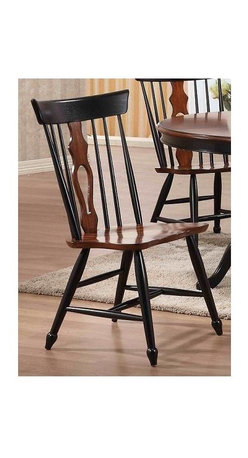 Sunset Trading - Eco-Friendly Dining Chair - Colonial traditional classic American beauty. Fiddle back and chestnut seat. Perfectly carved and turned legs. Large backrest and seating area to provide ideal seating solution. Warranty: One year. Made from Malaysian oak. Chestnut and black finish. Made in Malaysia. No assembly required. 22 in. W x 20.5 in. D x 41 in. H (18 lbs.)This beautifully designed dining chair supplied by Sunset Trading will assure you many years of use and enjoyment. Complete your dining decor with the vintage charm of dining chairs from the Sunset Trading Sunset Dining Collection. Offering style, yet always dependably functional, your family and friends will enjoy the seating comfort of this inviting relaxed dining chairs for years to come. Pair with your choice of coordinating Sunset Trading Sunset Dining Collection dining tables (not included) to bring a touch of tradition and classic American style to your home.
