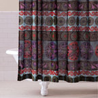 Gypsy Suzani Shower Curtain - I love the look of his bohemian-inspired shower curtain. It reminds me of hand-printed fabric done in a batik print. The pattern is not your typical floral and it's not too busy either.