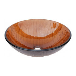 """Eden Bath - Cola Brown Wood VeGlass Vessel Sink - Material: Double Layer Tempered Glass; Color: Cola Brown; Dimensions: 16.5"""" Diameter X 5.5""""H; Thickness: 0.75""""; Drain Hole: 1.75"""" - No Overflow; Weight: 15 lbs; Installation: Top Mount; Not Included: Mounting Ring, Pop Up Drain & Faucet."""