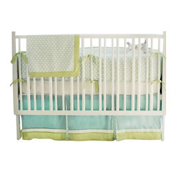 "New Arrivals Inc. - Sprout Baby Crib Bedding 3-Piece - The Sprout Baby Crib Bedding is clean & serene and exemplifies tranquility in any nursery! The family bumper is made of our soft Dream Oasis fabric with Green Tea Solid cording and ties. All bumpers are slip covered for easy cleaning. The crib sheet is crisp white 100% cotton. The 17"" tailored skirt is Taffeta in Ice Blue doubled banded with Taffeta in Cream and Green Tea Solid with pleats in Dream Oasis."