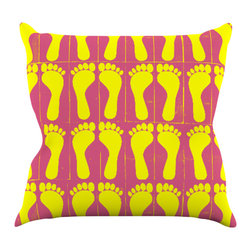 """Kess InHouse - Sreetama Ray """"Footprints Yellow"""" Pink Illustration Throw Pillow (16"""" x 16"""") - Rest among the art you love. Transform your hang out room into a hip gallery, that's also comfortable. With this pillow you can create an environment that reflects your unique style. It's amazing what a throw pillow can do to complete a room. (Kess InHouse is not responsible for pillow fighting that may occur as the result of creative stimulation)."""