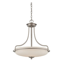Quoizel - Quoizel GF2821AN Griffin Transitional Inverted Pendant Light - This understated style provides a stylish, soft modern look for most any room.  The etched shade is painted white inside, diffusing the light evenly and illuminating your home with a soothing glow.  It is held in place by softly curved arms and is available in three finishes: Antique Nickel, Polished Chrome and Palladian Bronze