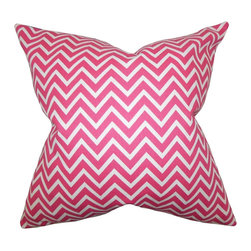 """The Pillow Collection - Sula Zigzag Pillow Candy Pink 18"""" x 18"""" - Decorate your home with this bright accent pillow. This throw pillow features a zigzag pattern in shades of candy pink and white. The bold pattern creates texture and dimension to your interiors. Mix and match with solids for a contemporary look. Made of 100% soft cotton fabric and crafted in the USA."""
